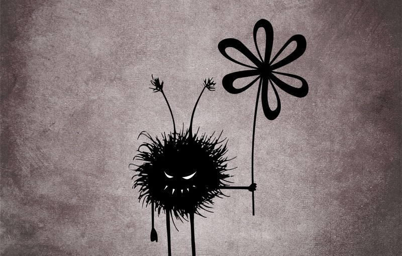 Evil Flower Bug Vintage illustration