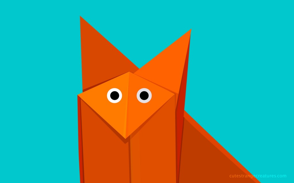 Bright geometric cute origami cartoon fox desktop wallpaper