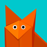 Cute Origami Cartoon Fox