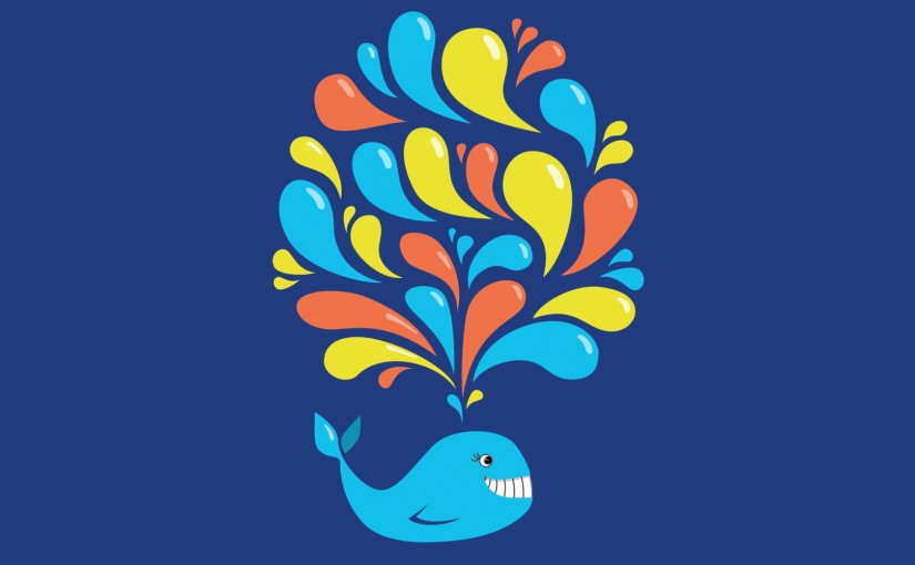 Happy Cartoon Whale Illustration