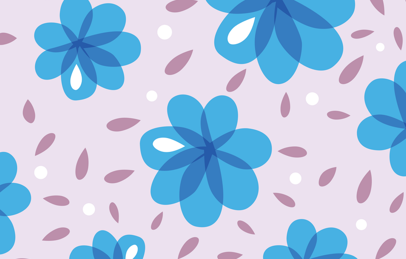 Abstract Blue Flowers Pattern