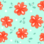 Decorative Red Flowers Pattern