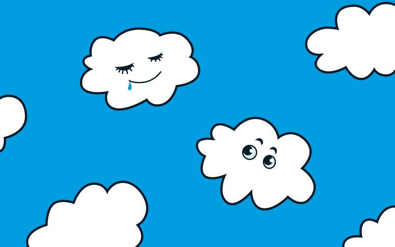 funny clouds cartoon illustration