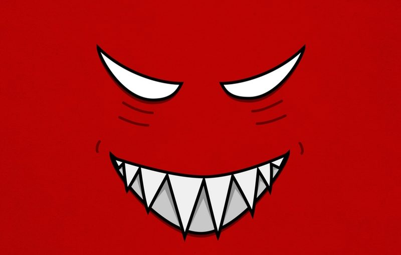 Evil Grin Cartoon Face Vector Illustration