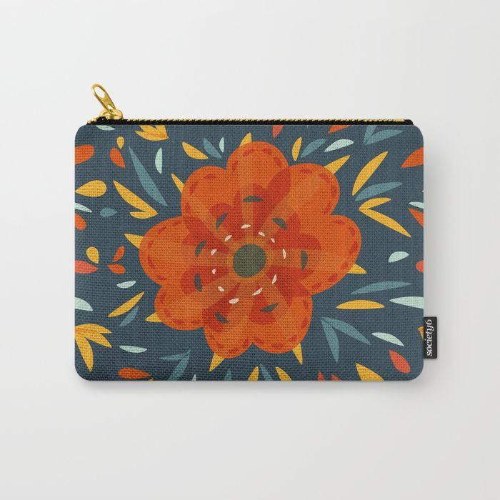 Decorative whimsical orange flower pouch / Society6