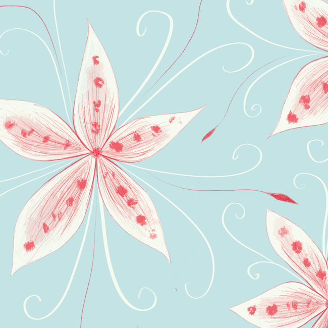 preview of an illustration in progress of a floral pattern