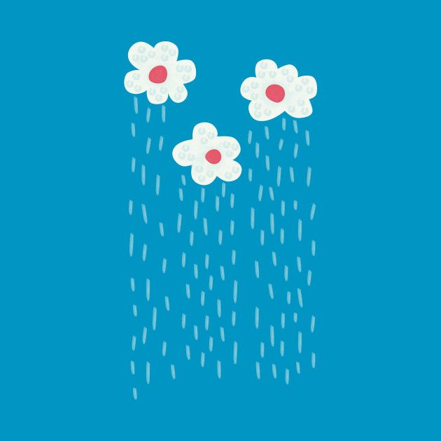 Rainy flowery clouds design at Teepublic