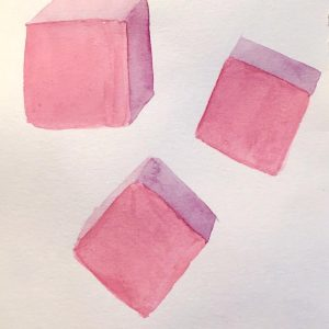 Pink cubes watercolor sketch