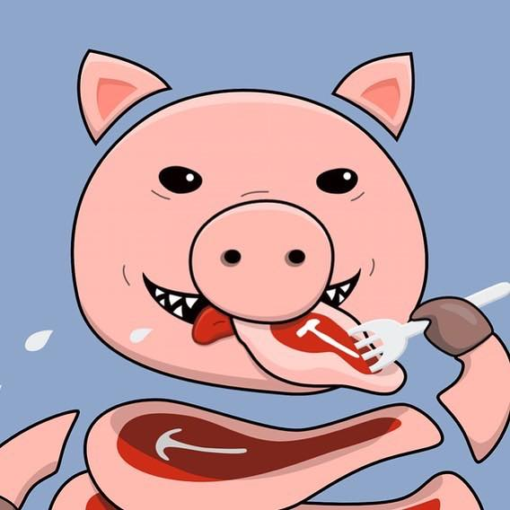 Vector illustration of self-eating pig, a work in progress