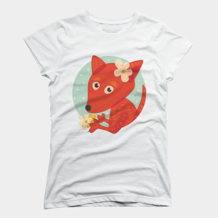 Cute fox with flowers t-shirt by boriana at Design By Humans
