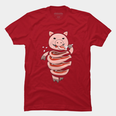 Self eating pig t-shirt by boriana at Design By Humans