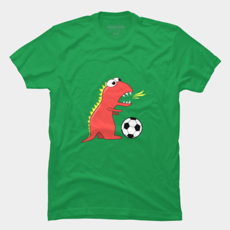 Soccer playing cartoon dinosaur t-shirt by boriana at Design By Humans