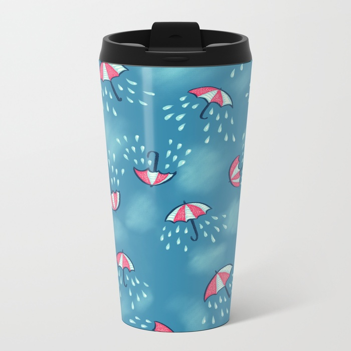 Umbrella pattern with rain travel mug / Society6