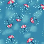 Umbrella pattern with rain and clouds – illustration and products