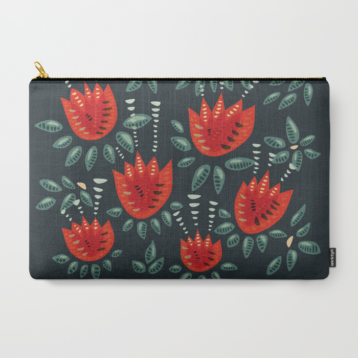 Tulip pattern pouch / Society6