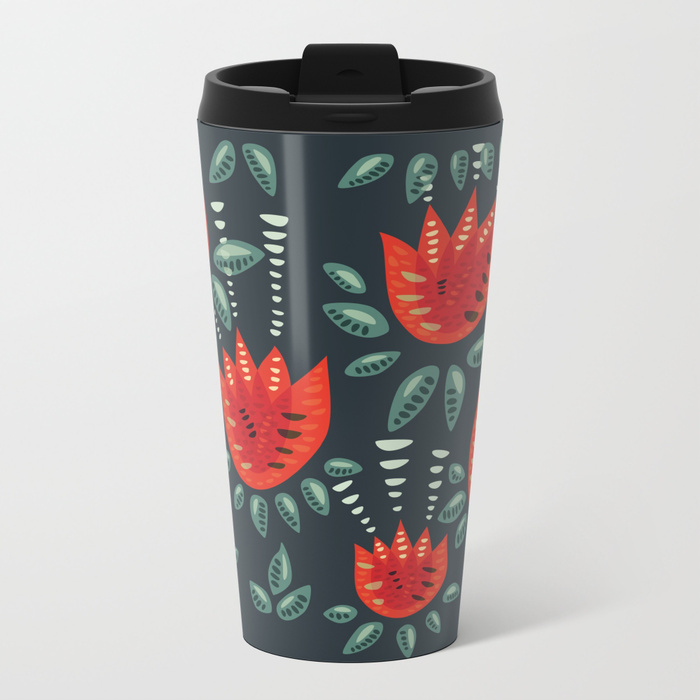 Tulip pattern travel mug / Society6