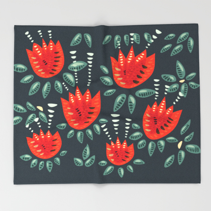 Tulip pattern fleece blanket / Society6