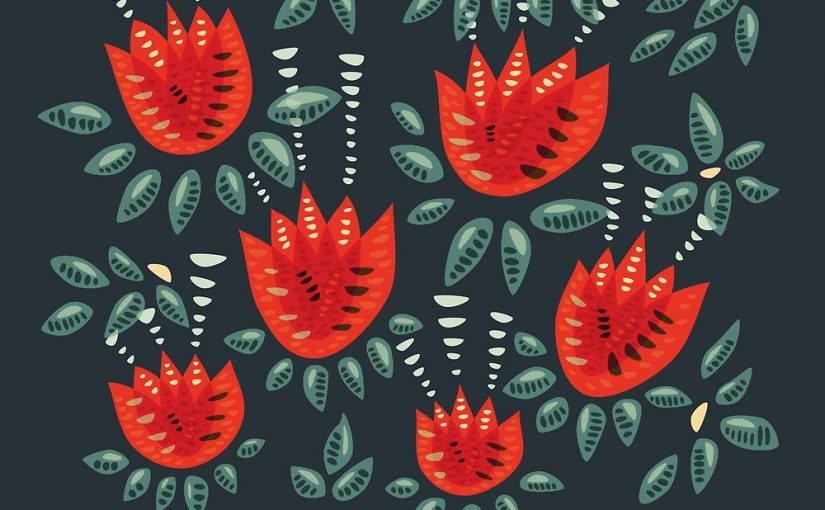 Tulip pattern with red tulips and abstract decorative leaves