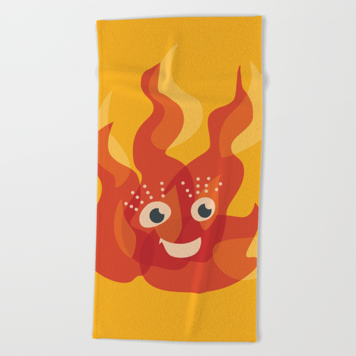 Cute flame character beach towel / Society6