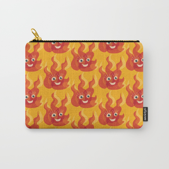 Cute flame character pouch / Society6