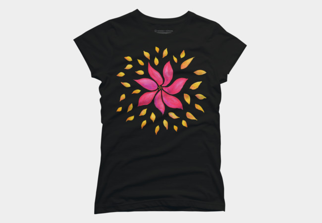Flowery tee with a whimsical watercolor illustration of a pink flower and yellow petals