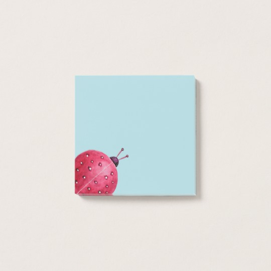 Pink watercolor ladybug post-it notes