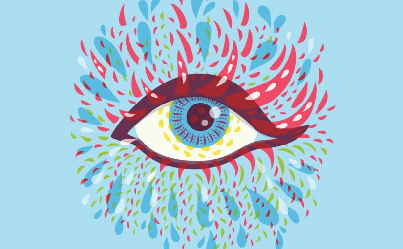 Blu psychedelic eye vector art