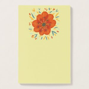 Decorative orange flower post-it notes