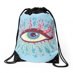 Blue psychedelic eye drawstring bag / Redbubble