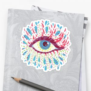 Blue psychedelic eye sticker / Redbubble