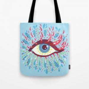Blue psychedelic eye tote bag / Society6