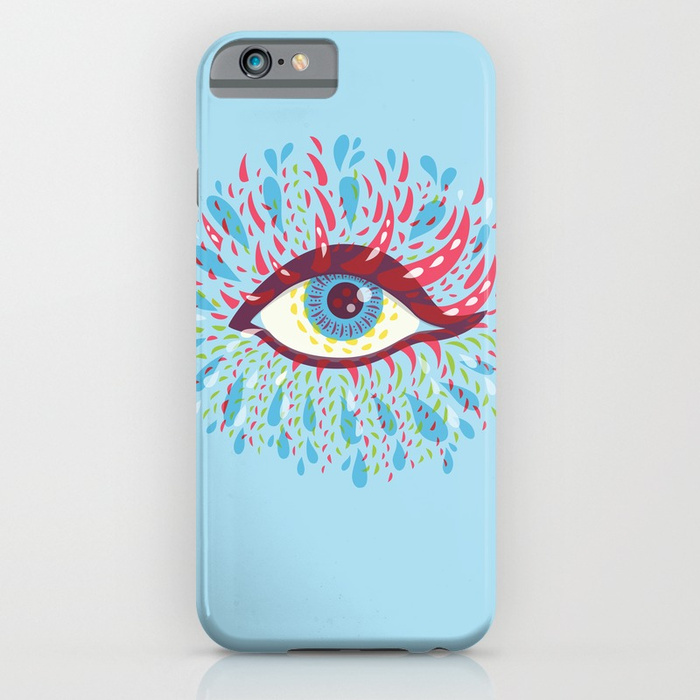 Blue psychedelic eye iPhone case with a vector illustration of blue eye and colorful tears frown out of it in psychedelic colors over light blue background.