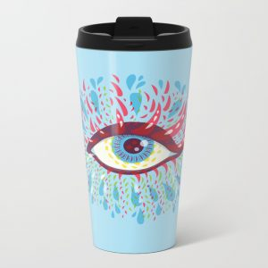 Blue psychedelic eye travel mug / Society6