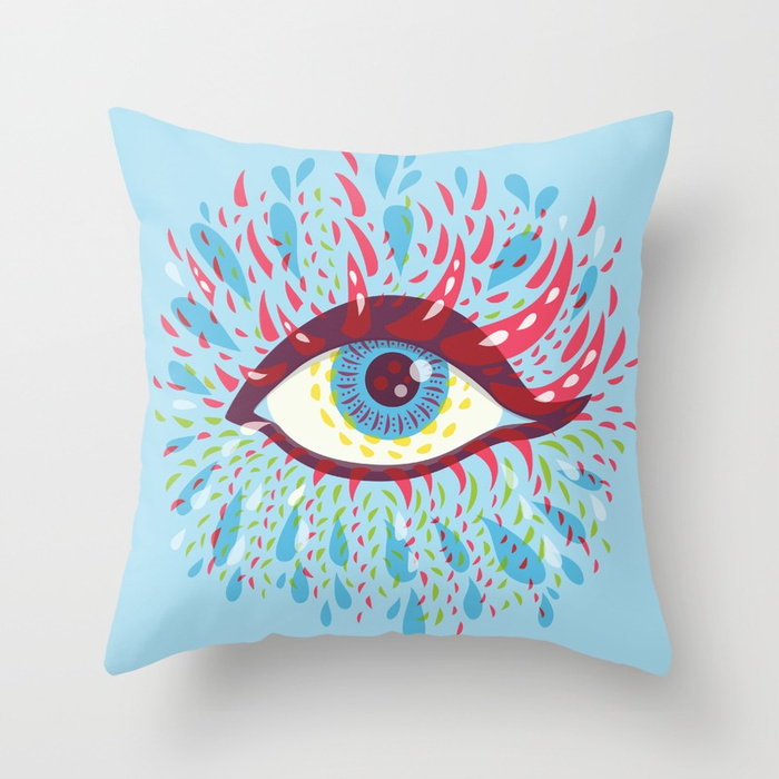 Blue psychedelic eye pillow / Society6