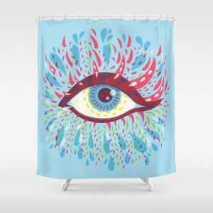Blue psychedelic eye shower curtain / Society6