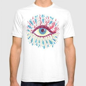 Blue psychedelic eye tee / Society6