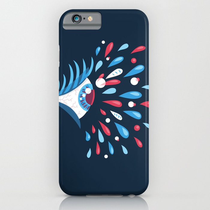 Psychedelic eye iPhone case with a vector illustration of a side looking amazed eye and colorful tears splashing out of it.