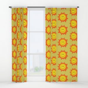 Happy Sun pattern curtain / Society6