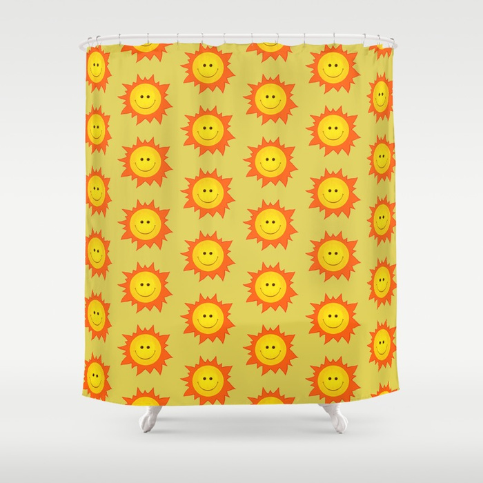 Happy Sun pattern shower curtain / Society6