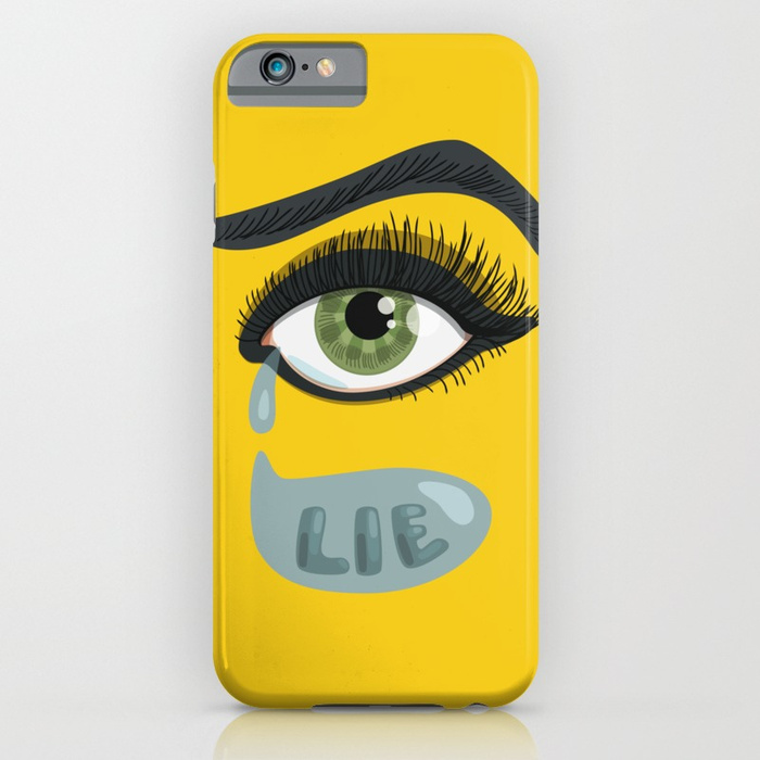 "Green eye iPhone case with a vector illustration of a lying eye with tear and the text ""lie"" in it."