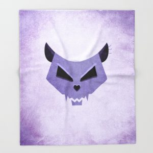 Purple Funny Evil Cat Skull blanket / Society6