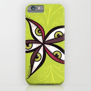 Green eyes iPhone case with a bold vector illustration of a flowers made of green eyes with purple and red eyelids over intense light green background with swirls.