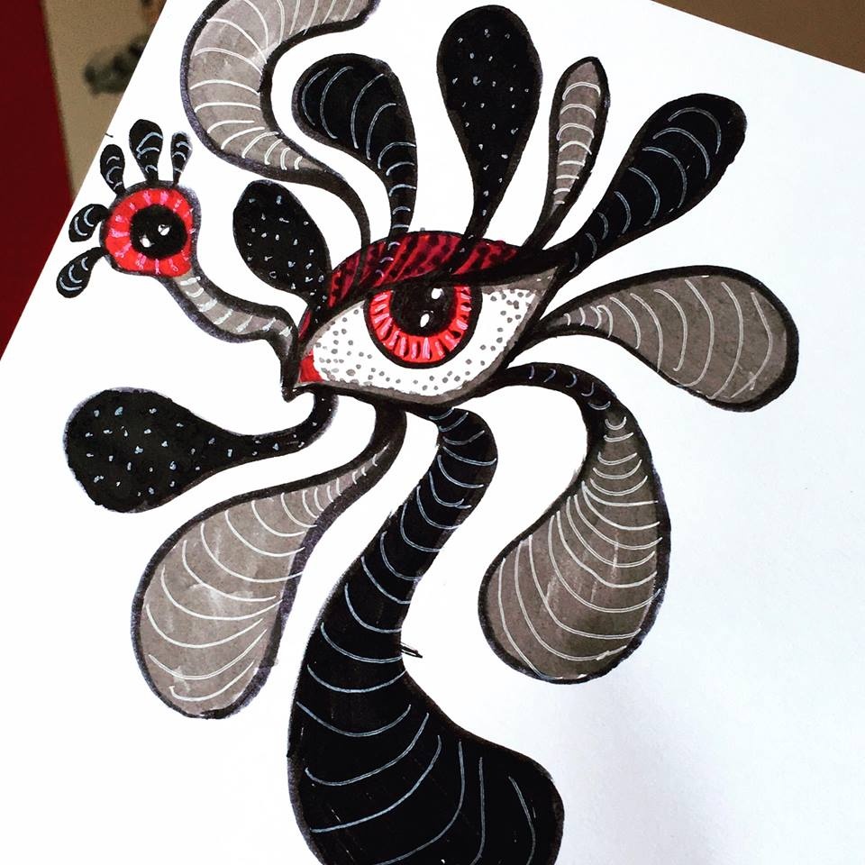 surreal double eye ink sketch