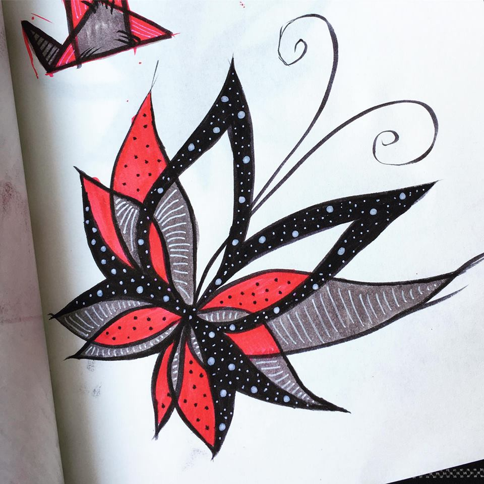 abstract butterfly ink sketch