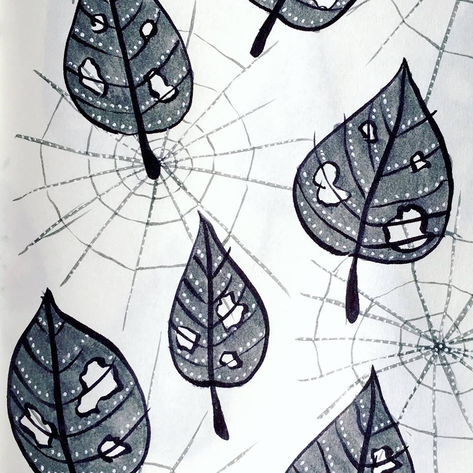 leaves with holes and spiderwebs