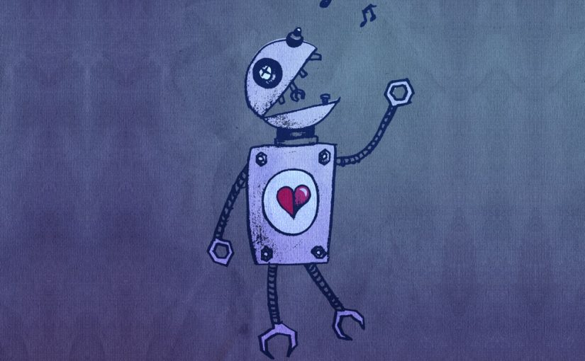 Cute geek illustration of a cartoon robot singer