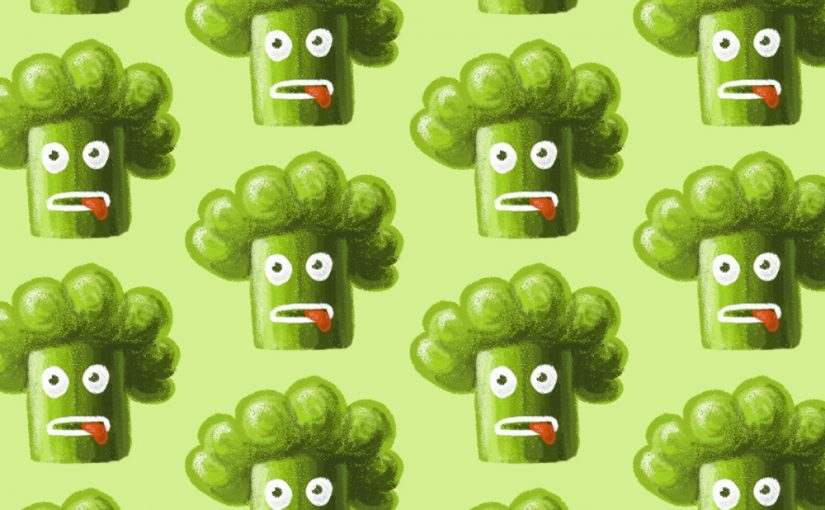 Funny cartoon broccoli character illustration and pattern