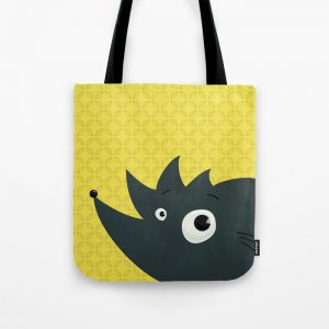 Abstract hedgehog character tote bag at Society6