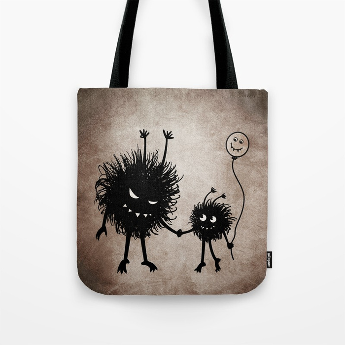 Evil bug mother and child tote bag at Society6