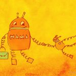 Robot Mother And Child Illustration